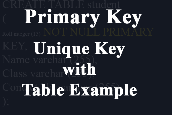 primary key sql