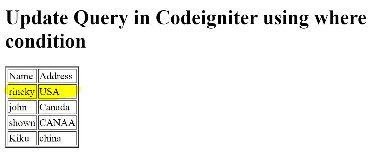 codeigniter update query